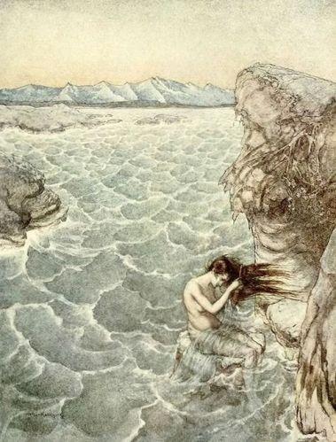 Illustration by Arthur Rackham (Mermaid)