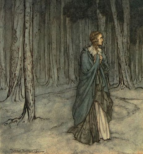 illustration-by-arthur-rackham-woman-in-woods